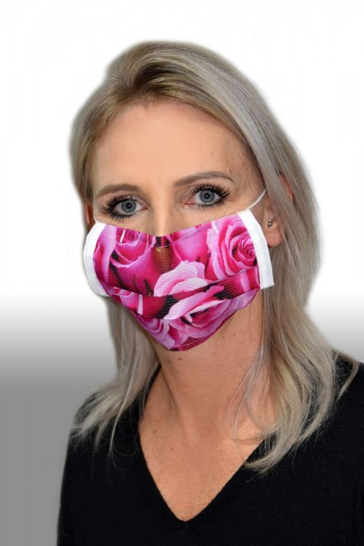 Antibakterielle Mund-Nasen-Maske Rose pink