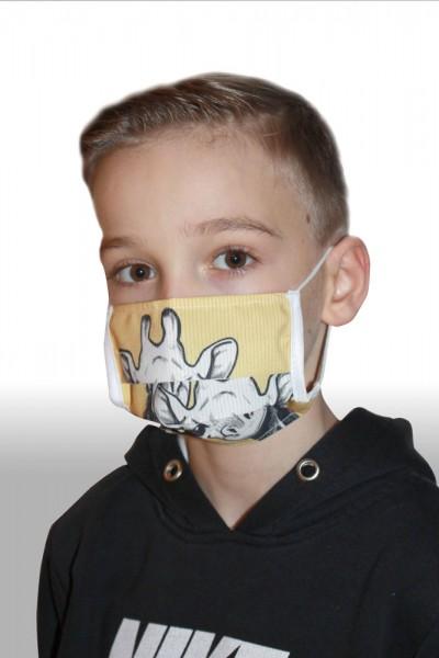 Antibakterielle Mund-Nasen-Maske für Kinder - Giraffe gelb