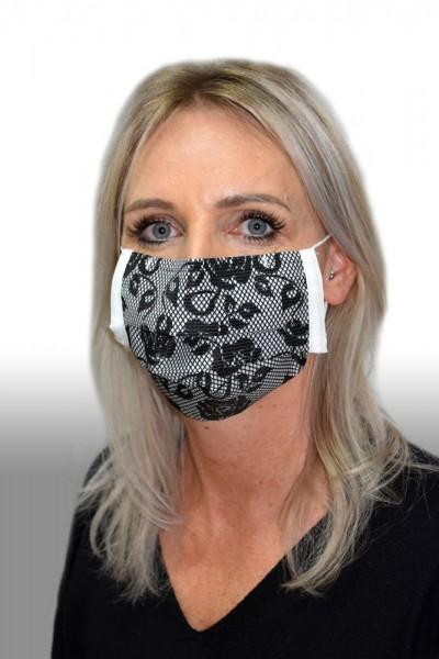 Antibakterielle Mund-Nasen-Maske Rose schwarz