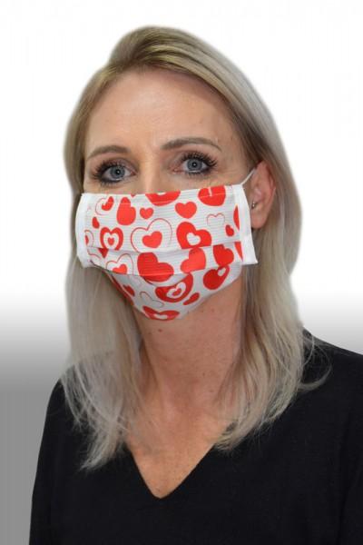 Antibakterielle Mund-Nasen-Maske Herz rot
