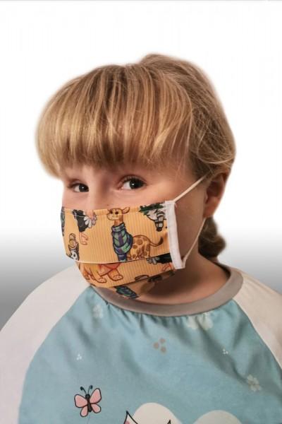 Antibakterielle Mund-Nasen-Maske für Kinder - Design Tiere