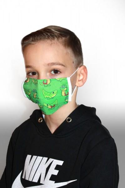 Antibakterielle Mund-Nasen-Maske für Kinder - Krokodil grün
