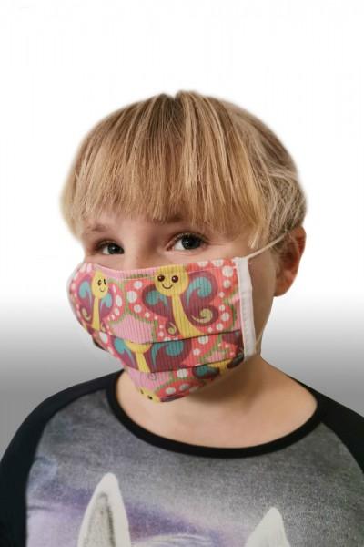 Antibakterielle Mund-Nasen-Maske für Kinder - Schmetterling rosa
